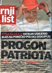 Naslovnica Večernjeg lista s papom Benediktom XVI. od 13. 8. 2011.
