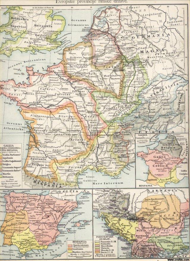 Europske provincije rimske države. Galija, zapadna Germanija i južna Britanije. Podunavske zemlje. Galija u vrijeme Cezarovo.