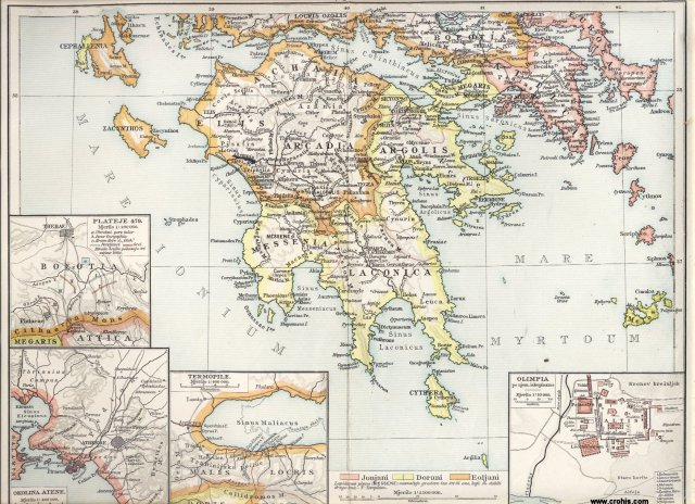 Antička Grčka, južni dio. Termopile. Okolina Atene. Olimpija. Plateje.