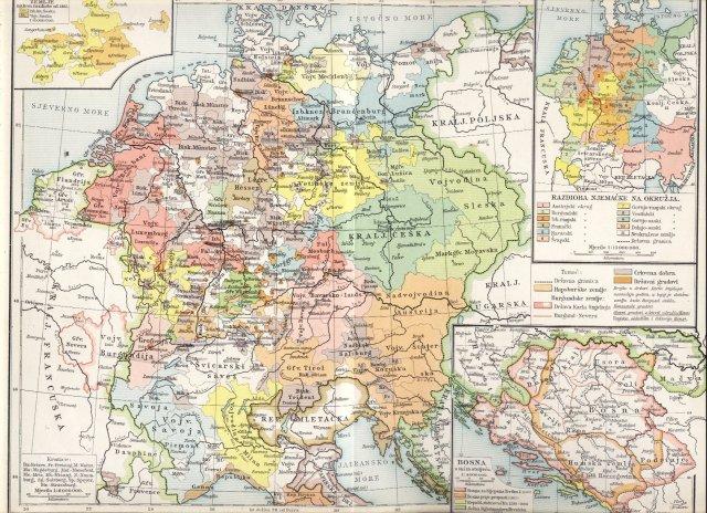 Njemačka i gornja Italija u 15. stoljeću (1477.). Bosna do propasti svoje (1463.).Vetinske zemlje 1485. Razdioba Njemačke na okružja.