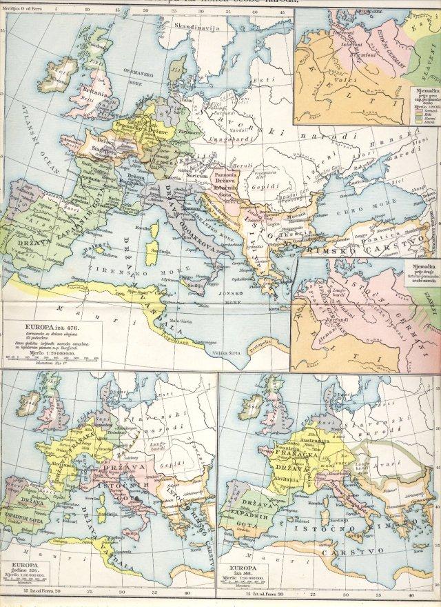 Evropa na koncu seobe naroda. Evropa iza 476. Evropa godine 526. Evropa iza 568. Njemačka prije prve seobe zapadnih Germana. Njemačka prije druge (istočno-germanske) seobe.