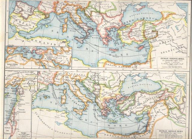 Zemlje sredozemnog mora za križarskih vojna. Zemlje sredozemnog mora za prve križarske vojne. Zemlje sredozemnog mora iza četvrte križarske vojne. Država kalifa godine 750. Sirija iza prve križarske vojne.