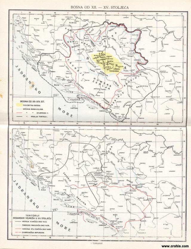 Bosna od 12. do 15. stoljeća; Bosna od 12. do 14. stoljeća; Teritoriji bosanskih velmoža u 15. stoljeću