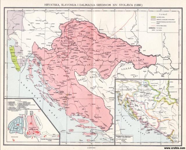 Hrvatska, Salvonija i Dalmacija sredinom 14. stoljeća (1358); Tlocrt Gradeca i Zagreba 1368.; Teritorijalna organizacija crkve krajem 15. stoljeća
