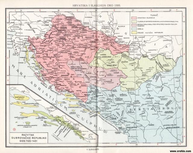 Hrvatska i Slavonija oko 1300.; Razvitak Dubrovačka republike od 1120. - 1451.