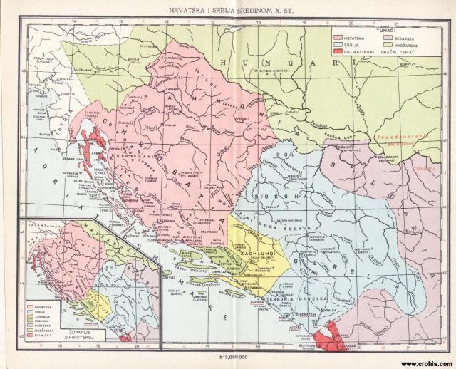 Hrvatska i Srbija sredinom 10. stoljeća; Županije u Hrvatskoj
