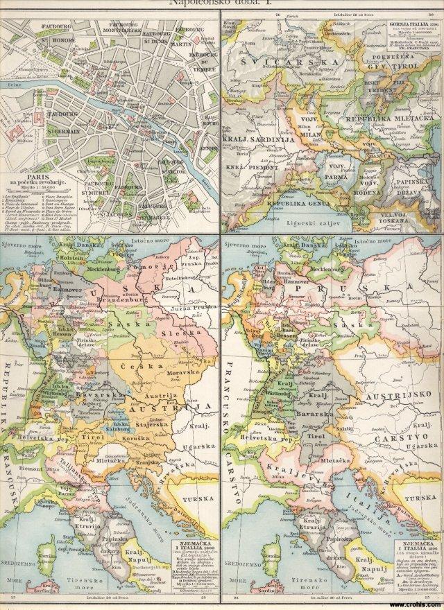 Napoleonsko doba I.; Pariz na početku revolucije; Gornja Italija 1796.; Njemačka i Italija 1803.; Njemačka i Italija 1806.