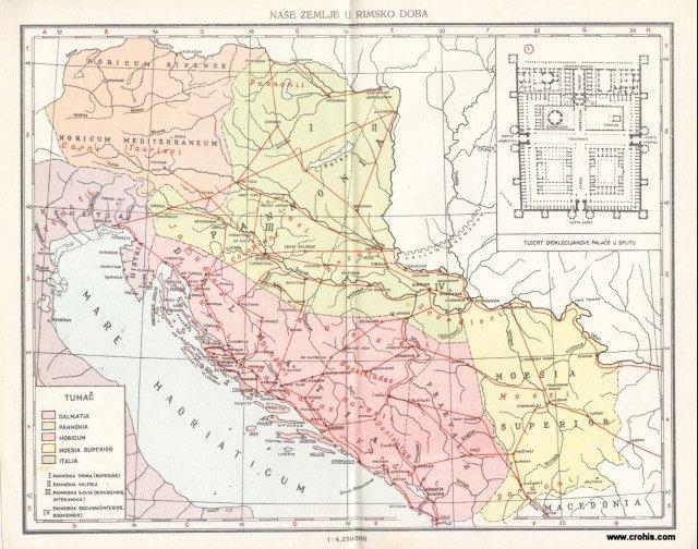 """Hrvatska i okolne zemlje (""""Naše zemlje"""") u rimsko doba; Tlocrt Dioklecijanove palače"""