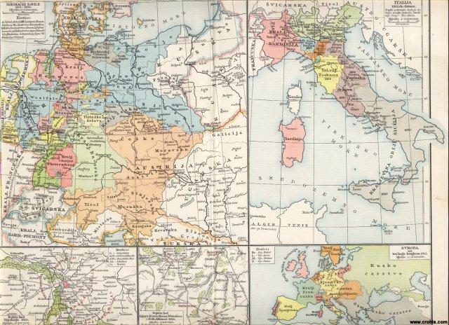Njemačka 1815. - 1866.; Italija 1815. do početka 20. st.; Europa 1815.; Lipsko; Ligny; Quatre - Bras; Waterloo; Belle Alliance.