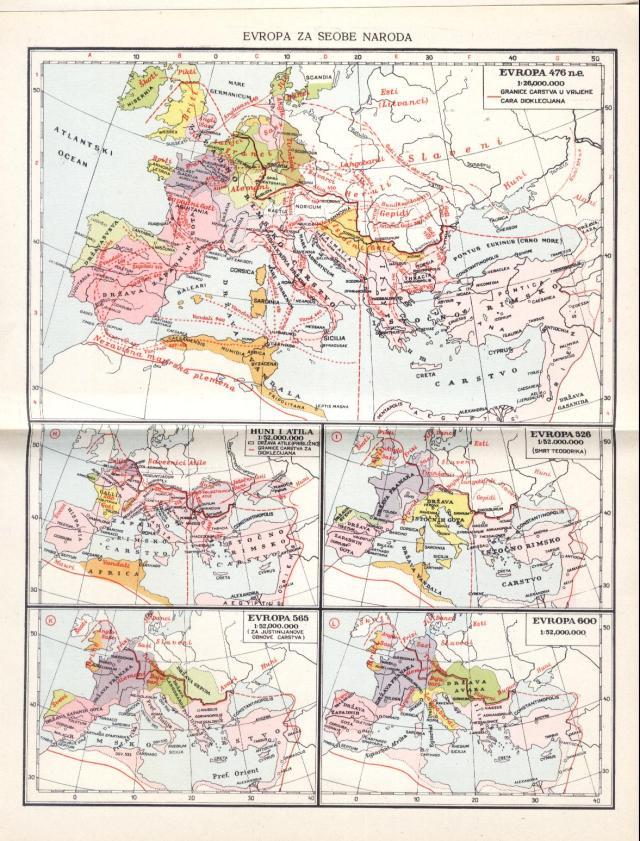 Evropa za seobe naroda; Evropa 476. n.e.; Huni i Atila; Evropa 526.; Evropa 565.; Evropa 600.