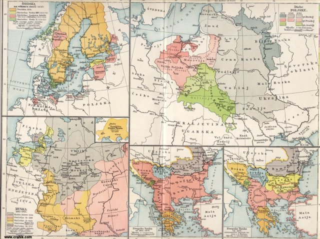 Švedska, Rusija, Poljska, Istočno pitanje; Švedska na vrhuncu moći (1658.); Rusija 1462. - 1762.; Diobe Poljske; Europska Turska 1812. - 1878.; Europska Turska od 1878.