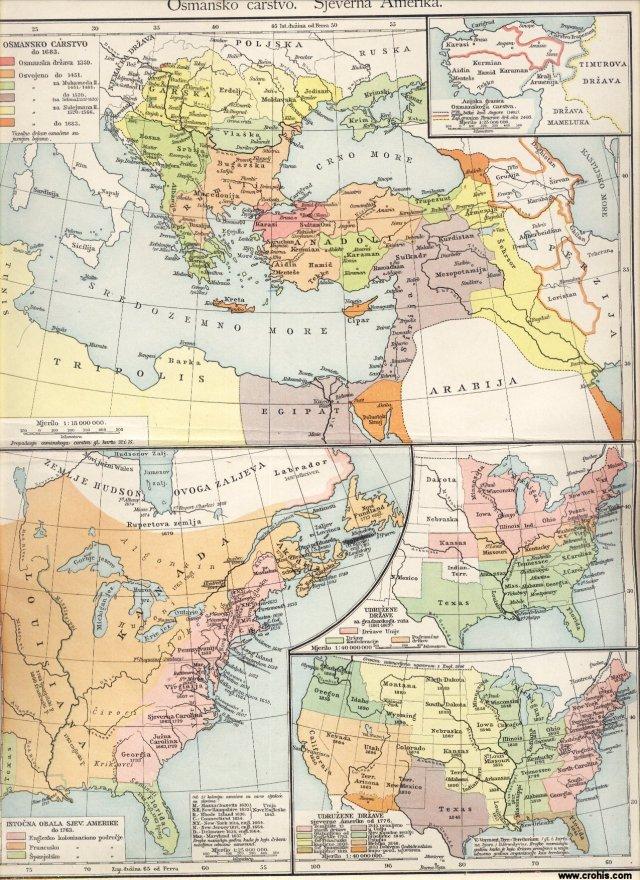 Osmansko carstvo; Sjeverna Amerika; Osmansko carstvo do 1683.; Azijske granice osmanskog carstva prije i poslije bitke kod Angore; Istočna obala sjeverne Amerike do 1763.; Sjedinjene države za građanskog rata.