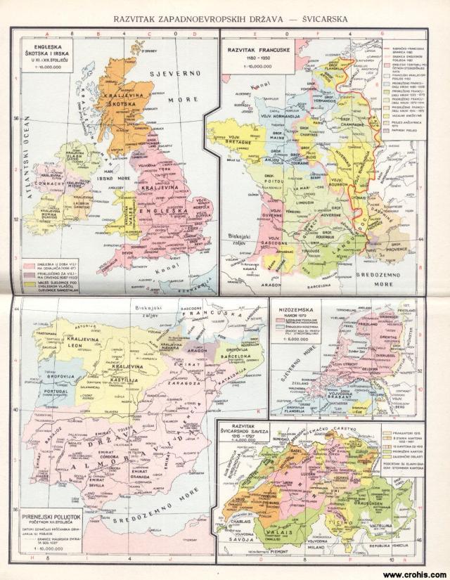 Razvitak Zapadnoevropskih država; Engleska, Škotska i Irska u 11. i 12. stoljeću; Razvitak Francuske 1180. - 1350.; Pirinejski poluotok početkom 12. stoljeća; Nizozemska nakon 1579.; Razvitak švicarskog saveza 1315. - 1797.