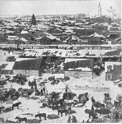 Tržnica krznom u Irbitu. U pojedinim dijelovima svijeta lov je i početkom 20. st. važna gospodarska djelatnost.