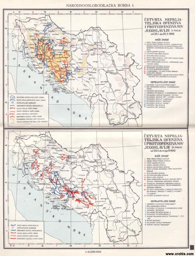 Četvrta neprijateljska ofanziva i protuofanziva NOV Jugoslavije (I. faza od 20. I. do 25. II. 1943; II. faza od 25. II. do kraja IV. 1943.)