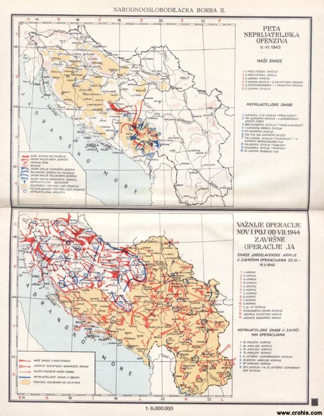 Peta neprijateljska ofenziva V. - VI. 1943.; Važnije operacije NOV i POJ od VII. 1944., Završne operacije JA