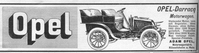 Početkom 20. st. automobil je još luksuzna i rijetka roba koja se proizvodi u malim količinama. Tako se tvornica Opel 1902. hvalila sa proizvodnjom od 2000 komada.