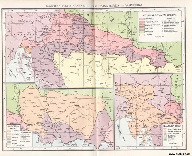 Vojna krajina iza godine 1750.; Vojvodina 1849. - 1860.; Kraljevina Ilirija