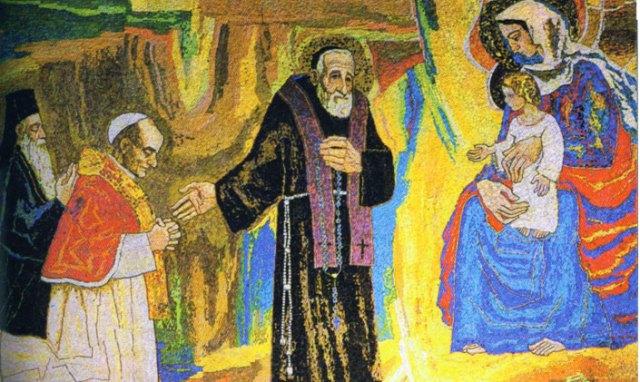 Na mozaiku Josipa Bifela u crkvi sv. Lopolda Mandića u Osijeku navedeni svetac pokazuje Bogorodici papu Pavla VI. i carigradskog patrijarha Atenagoru.