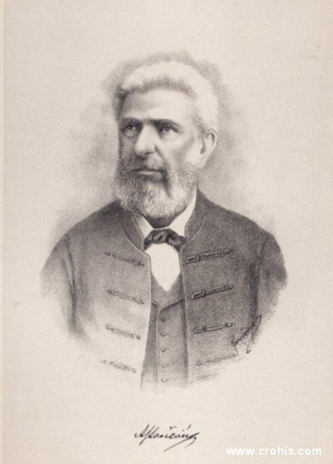 """Ante Starčević (1823. – 1896.), osnivač i ideolog Stranke prava. Zbog iznimnog političkog i kulturnog utjecaja nazvan """"otac domovine""""."""