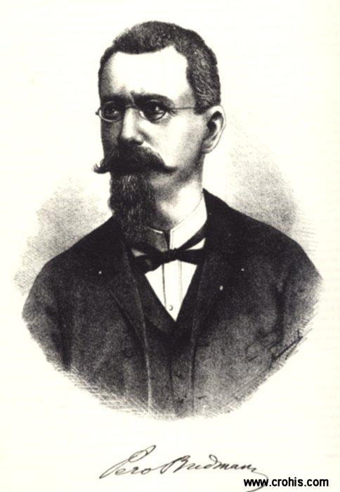 Pero Budmani (1835. – 1914.), filolog, urednik rječnika Jugoslavenske (danas Hrvatske) akademije znanosti i umjetnosti.