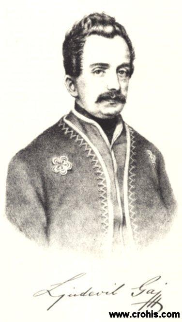 Ljudevit Gaj (1809. - 1872.), utemeljitelj hrvatskog preporodnog pokreta.