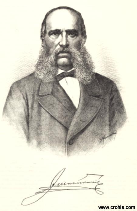 """Ivan Mažuranić (1814. – 1890.), preporoditelj, književnik i političar. Kao ban (1873. – 1880.) zaslužan je za brzu modernizaciju Hrvatske. Najpoznatije mu je književno djelo """"Smrt Smail-age Čengića""""."""
