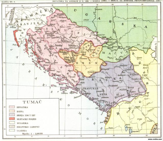 Hrvatska za Andrije II. g. 1230., Bosna 1230., Srbija za Sfefana Prvovojenčanog 1227.