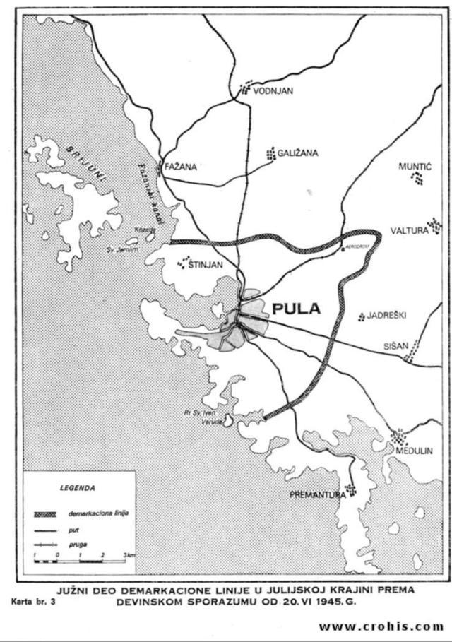 Demarkaciona linija prema devinskom sporazumu od 20. 6. 1945. 3. dio