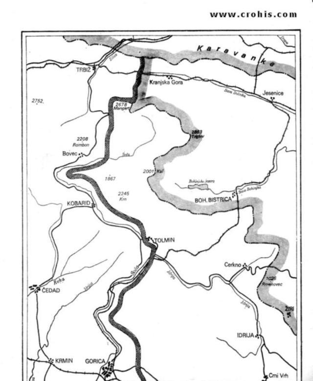 Demarkaciona linija prema devinskom sporazumu od 20. 6. 1945. 1. dio