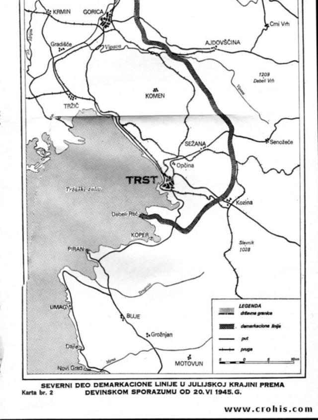 Demarkaciona linija prema devinskom sporazumu od 20. 6. 1945. 2. dio