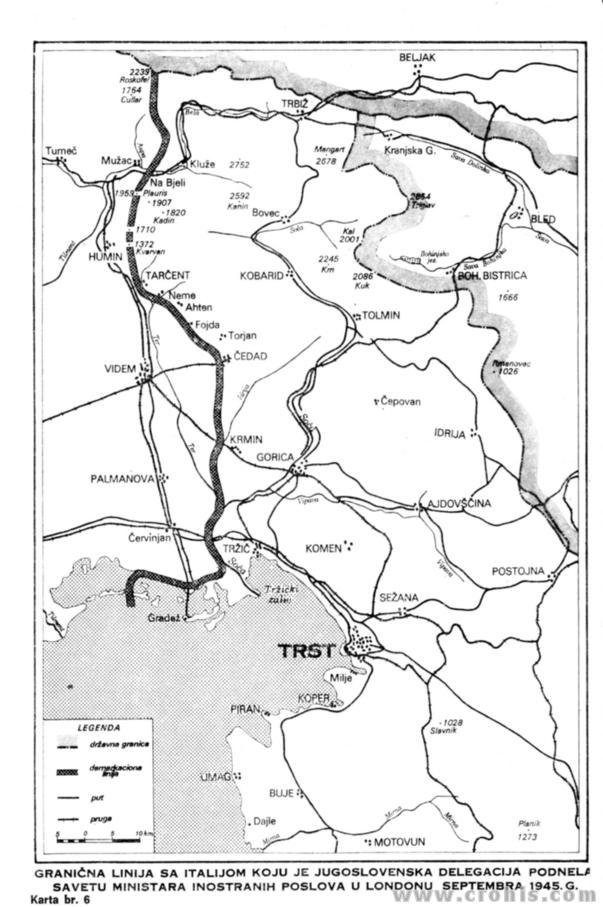 Granična linija jugoslavenske delegacije iz 9. mjeseca 1945.