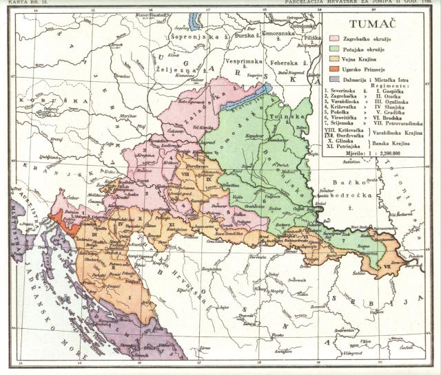 Parcelacija Hrvatske za Josipa 1785.