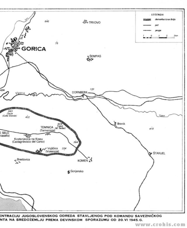 Područje koncentracije jugoslaveskog odreda po devinskom sporazumu od 20. 6. 1945. 1. dio