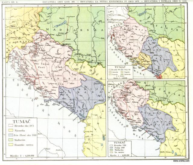 Hrvatska oko god. 960., Hrvatska za Petra Krešimira IV. oko 1073., Hrvatska i Duklja oko g. 1102.