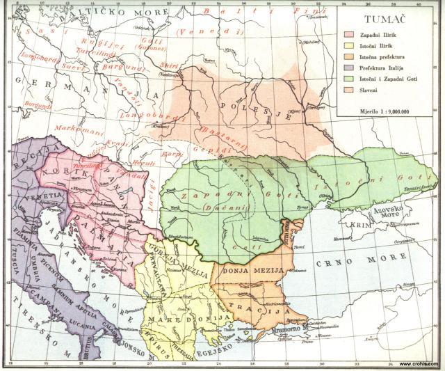 Srednja i jugoistočna Evropa na početku seobe naroda god. 375.