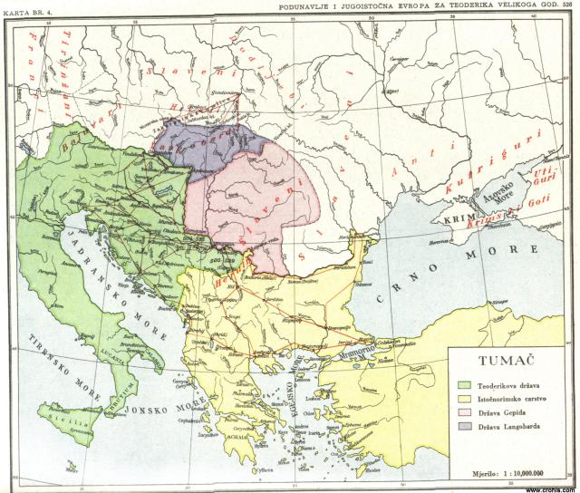 Podunavlje i jugoistočna Evropa za Teodorika Velikog god. 526.