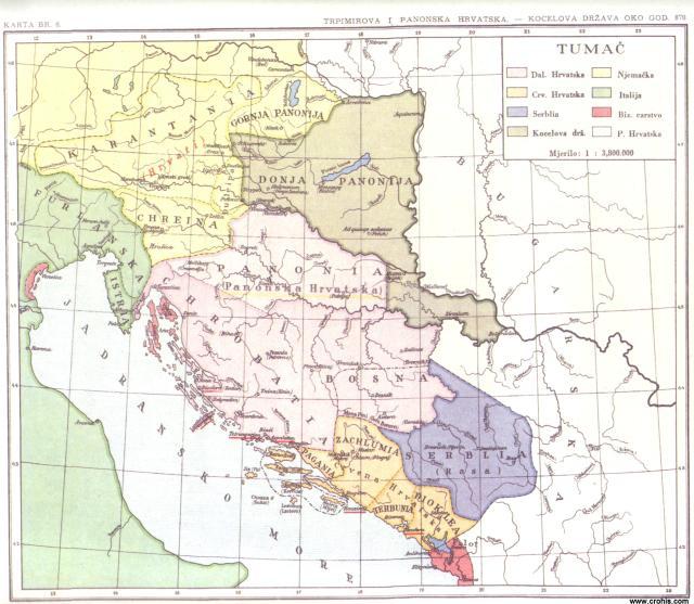Trpimirova i Panonska Hrvatska, Kocelova država oko god. 870.
