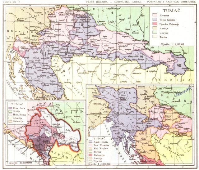 Vojna Krajina, Austrijska Ilirija, Postanak i razvitak Crne Gore