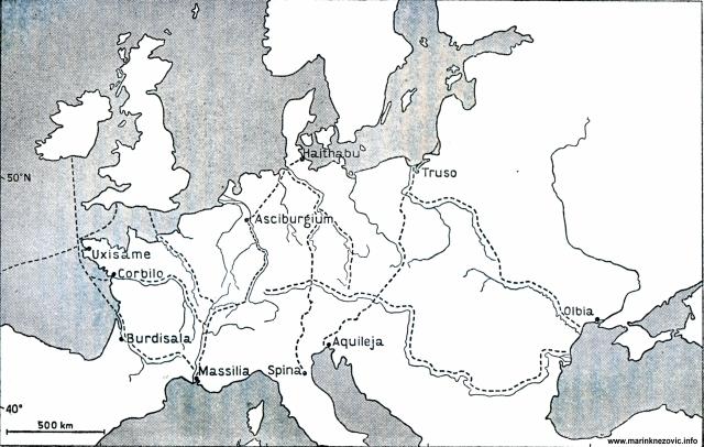 Trgovački putovi ranih visokih kultura na području Europe.