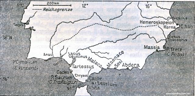 Područje Tartesa na jugu Španjolske s okolnim feničkim naseljima.