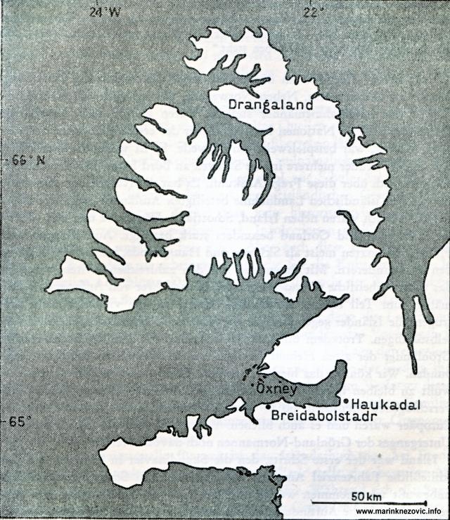 Island s mjestima koja su pripadala Erichu Crvenom u Drangalandu, Haukadalu, Oexneyu.