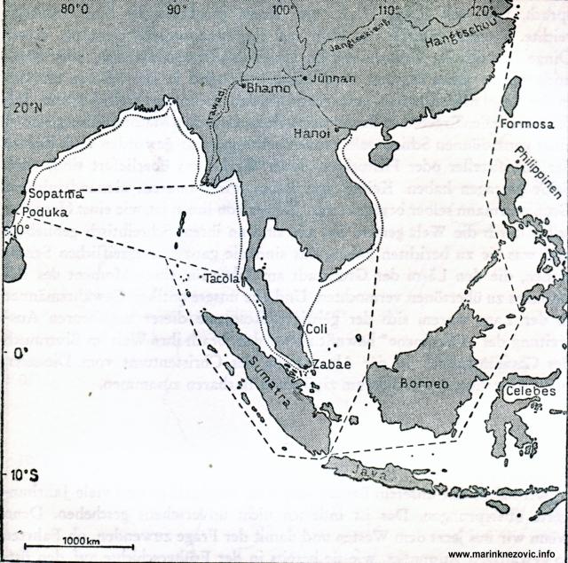 Pomorski putovi između Indije i Kine.
