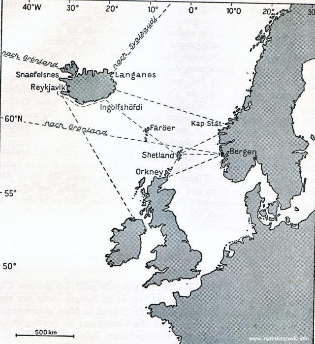 Pomorski putovi Vikinga od i prema Islandu.