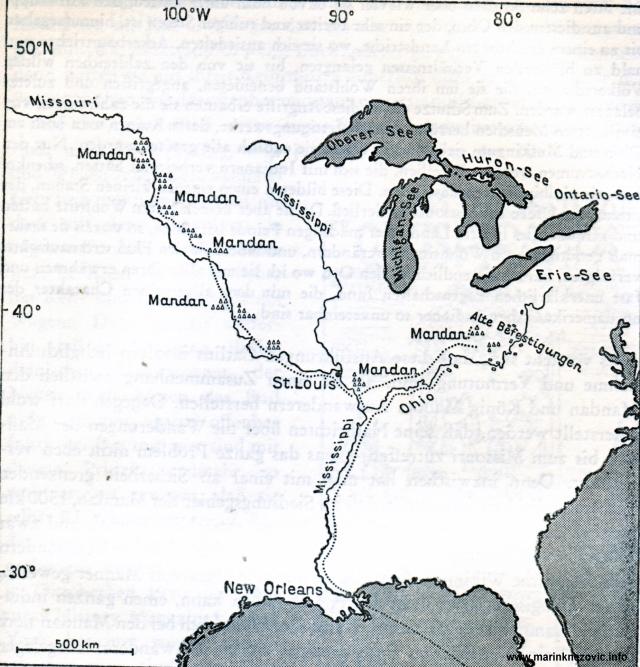 Područje naseljavanja Mandan Indijanaca.