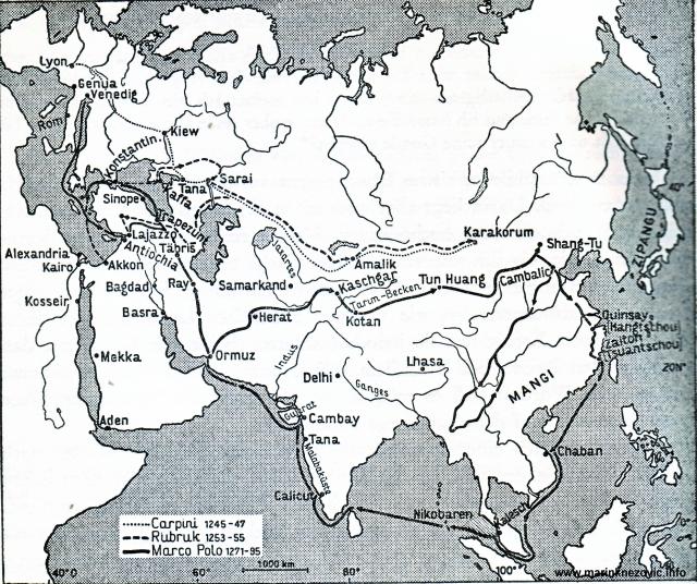 Kopneni i pomorski promet prema istočnoj Aziji u mongolsko doba.