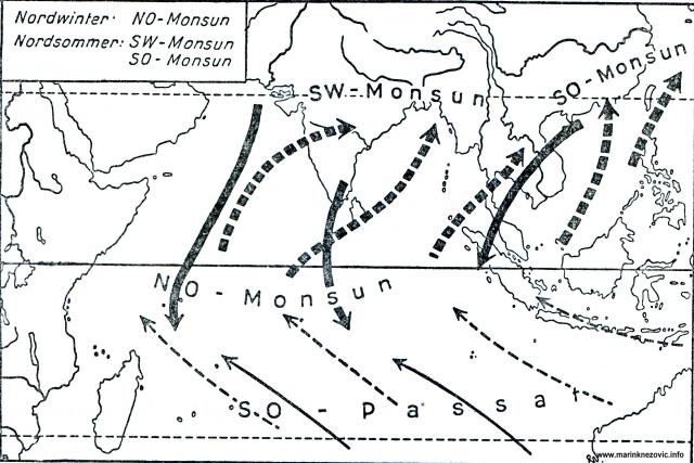 Sjeveroistočni i jugozapadni monsuni u Indijskom oceanu.