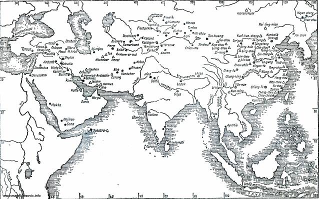 Karta širenja nestorijanskog kršćanstva u Aziji u srednjem vijeku.