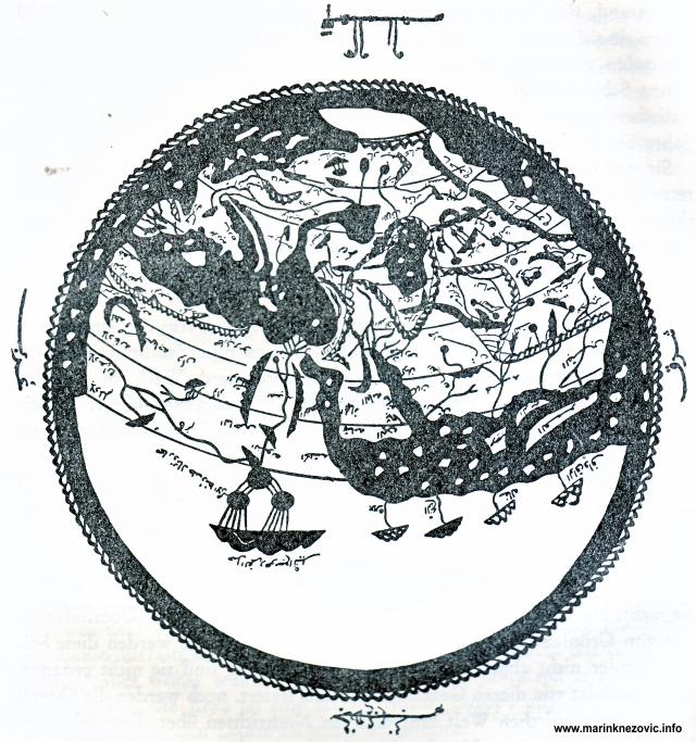 Slika svijeta prema Idrisiu iz kasnog 15. stoljeća