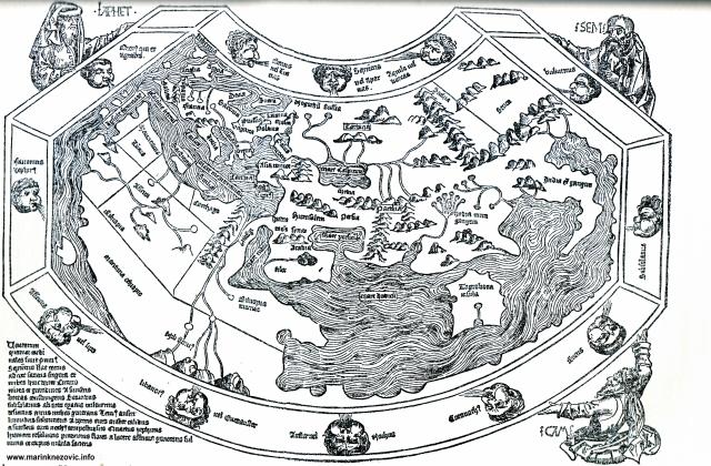 """Slika svijeta iz """"Svjetske kronike"""" Hartmana Schedela, 1493."""